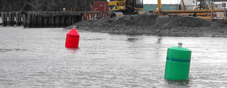 Red and Green CON and NUN Marine Construction Cautionary NWPA NPA Fairway Buoys