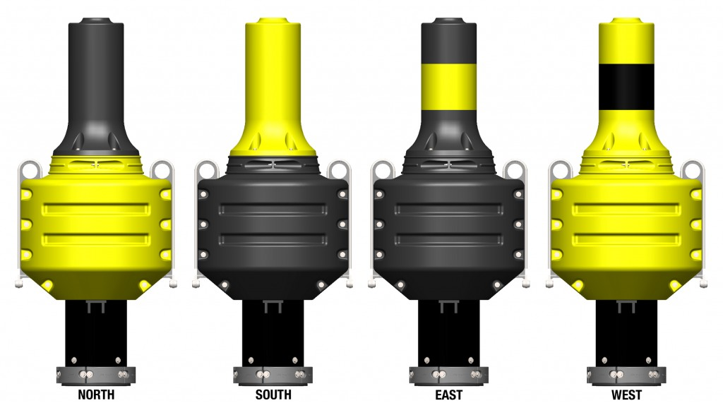 North South East and West Cardinal Buoys