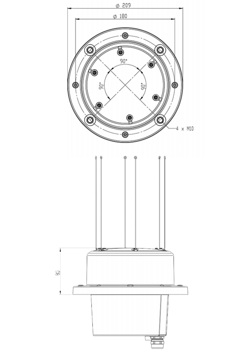 Carmanah Sabik HBL 110 Self Contained Marine Lantern Technical Drawing