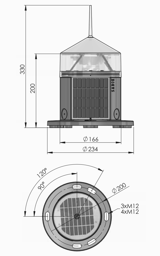 SC 110 Self Contained Marine Lantern Tech Drawings